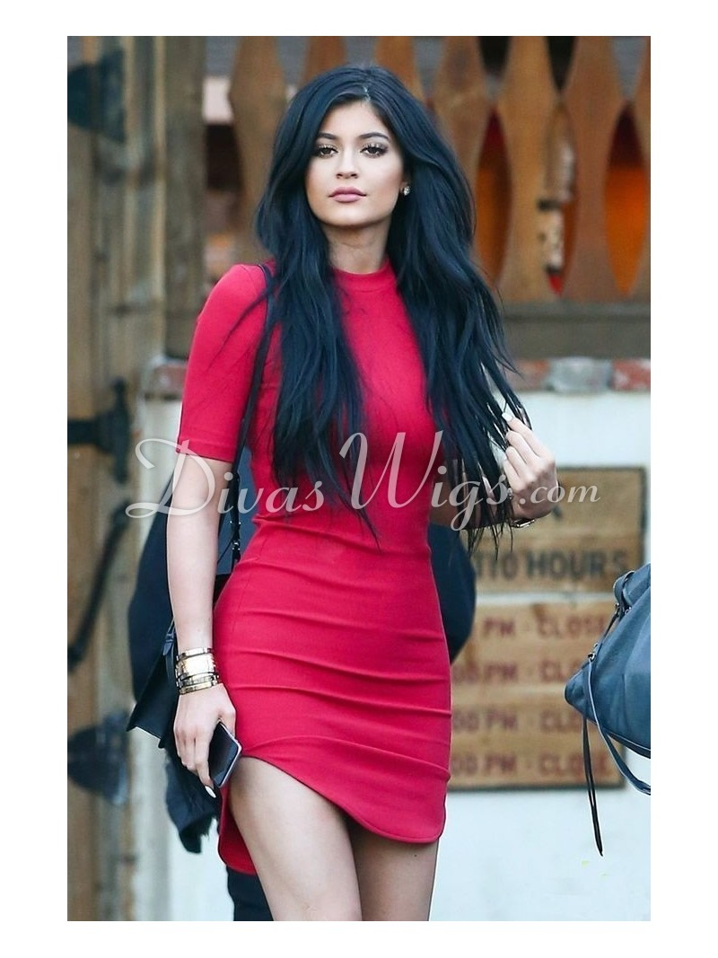 kylie Jenner Inspired long jet black straight Human Hair Lace Front ... Jet Black Hair With Ombre