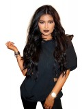 kylie Jenner Inspired long black wavy Human hair lace front wig-LF-KJ036