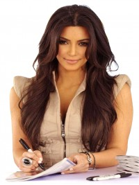 Kim inspired long wavy human hair lace front wig with layers -LF-km086
