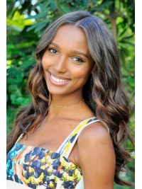 Jasmine Tookes inspired beautiful wavy human hair full lace wig with highlights-JT011