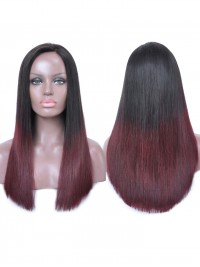 Dark wine Ombre straight Full Lace human hair wig - sst888