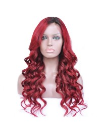 Custom Red wavy full lace human hair wig --wst888