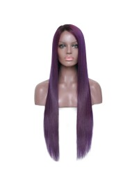 Custom purple straight human hair full lace wig --sst688