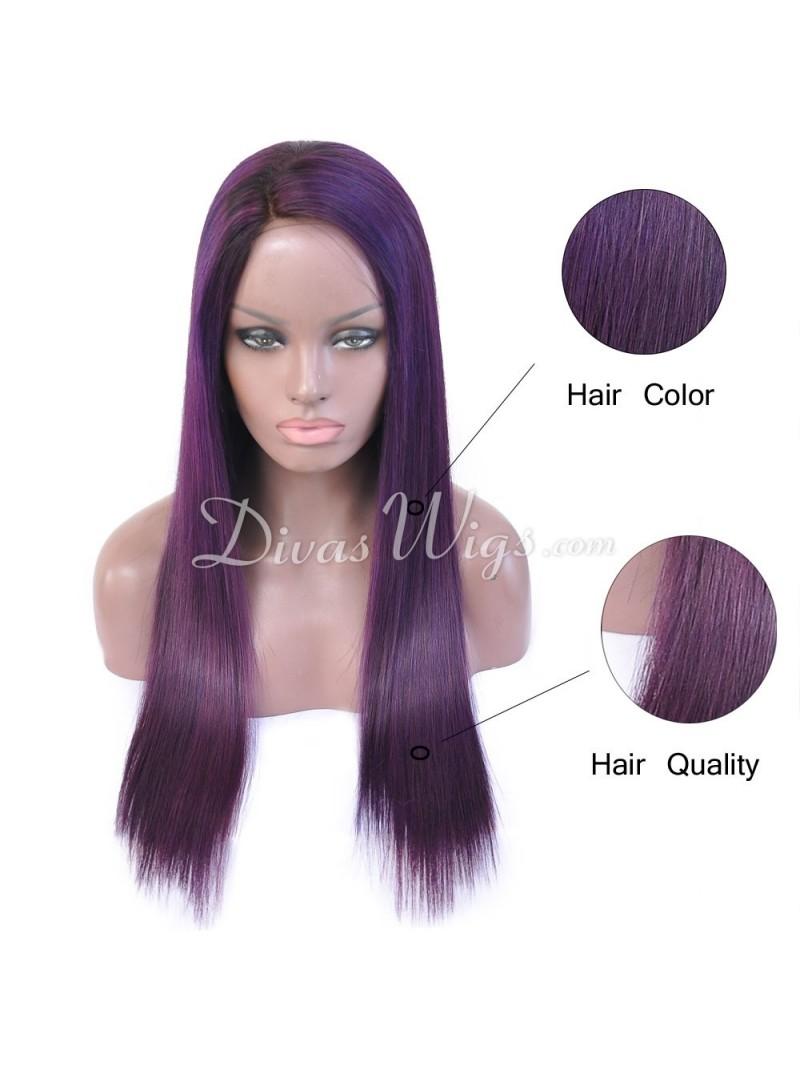 Custom Purple Straight Human Hair Full Lace Wigs Sst688