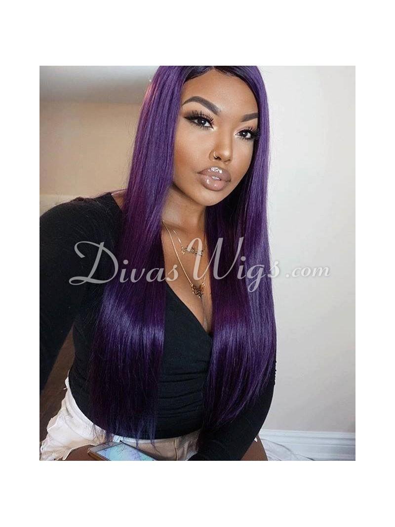 Custom Purple Straight Human Hair Full Lace Wig Sst688