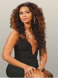 Beyonce inspired two tone culy full lace human hair wig - BC088