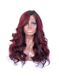 Custom dark wine wavy full lace human hair wig - wst688