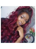 Wavy full lace human hair wig - wst688