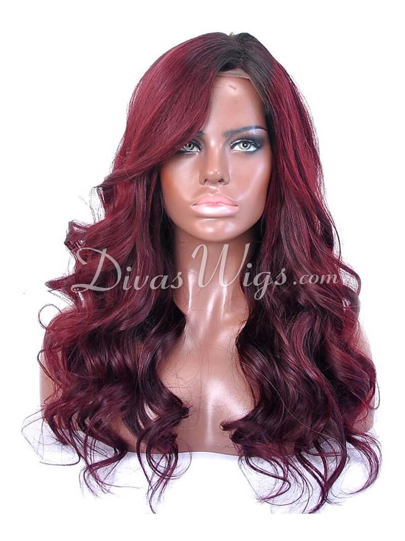 Custom Dark Wine Wavy Full Lace Human Hair Wig Wst688 Home