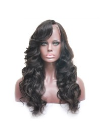 Natural Black wavy full lace human hair wig - sst868