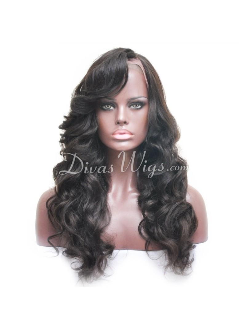 Natural Black Wavy Full Lace Human Hair Wig Sst868