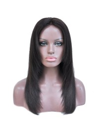 Face-framing off black straight full lace wig with layers - sst686