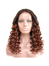 Honey Blond ombre wavy full lace human hair wig - wst868