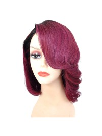 Custom short ombre full lace human hair wig with bang - bc068
