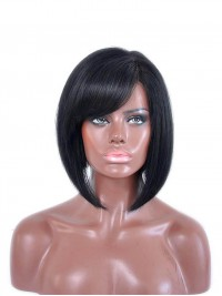 Black Short Full Lace Human Hair Bob With Bang - BC086