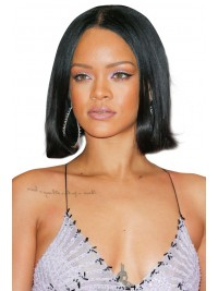 Rihanna inspired full lace human hair bob with middle part - RR668
