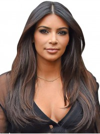 Kim Inspired Straight Human Hair Full Lace Wig With Highlight - KM068