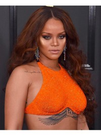 Custom Rihanna inspired wavy full lace human hair wig - RR086