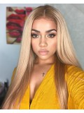 Custom beyonce inspired straight blond full lace human hair wig - BCS086