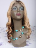 "20"" Medium Reddish Brown (#4) Platinum Blonde (#613) Light Auburn (#30) Custom Wavy Full Lace Wig - bhc1028"