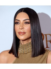 Kim inspired sleek middle part full lace human hair bob - KM066