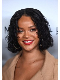 Rihanna Curled Out Wet Look Inspired Human Hair Full Lace Bob - BOB088