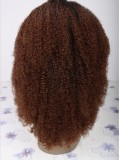 "14"" Off Black (#1B) Medium Reddish Brown (#4) Custom Curly Full Lace Wig - bhc1004"