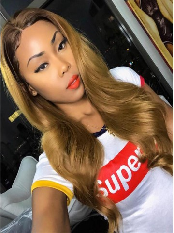 Hairstylist Jaelroumain Collection 22 inches 150% Density Indian Virgin Bronzed Goddess Lace Front Human Hair Wig- Jaelroumain003