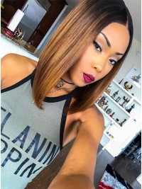 Hairstylist Jaelroumain Collection 12 inches 150% Density Brazilian Virgin Mocha Honey Full Lace Human Hair Bob- Jaelroumain006