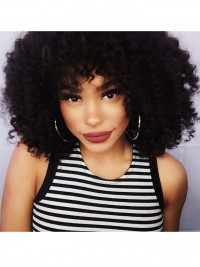 Curly Full Lace Human Hair Wig With Bang - CL068