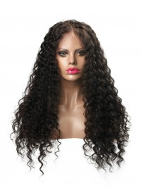 Free Part Long Curly Full Lace Human Hair Wig - CC056