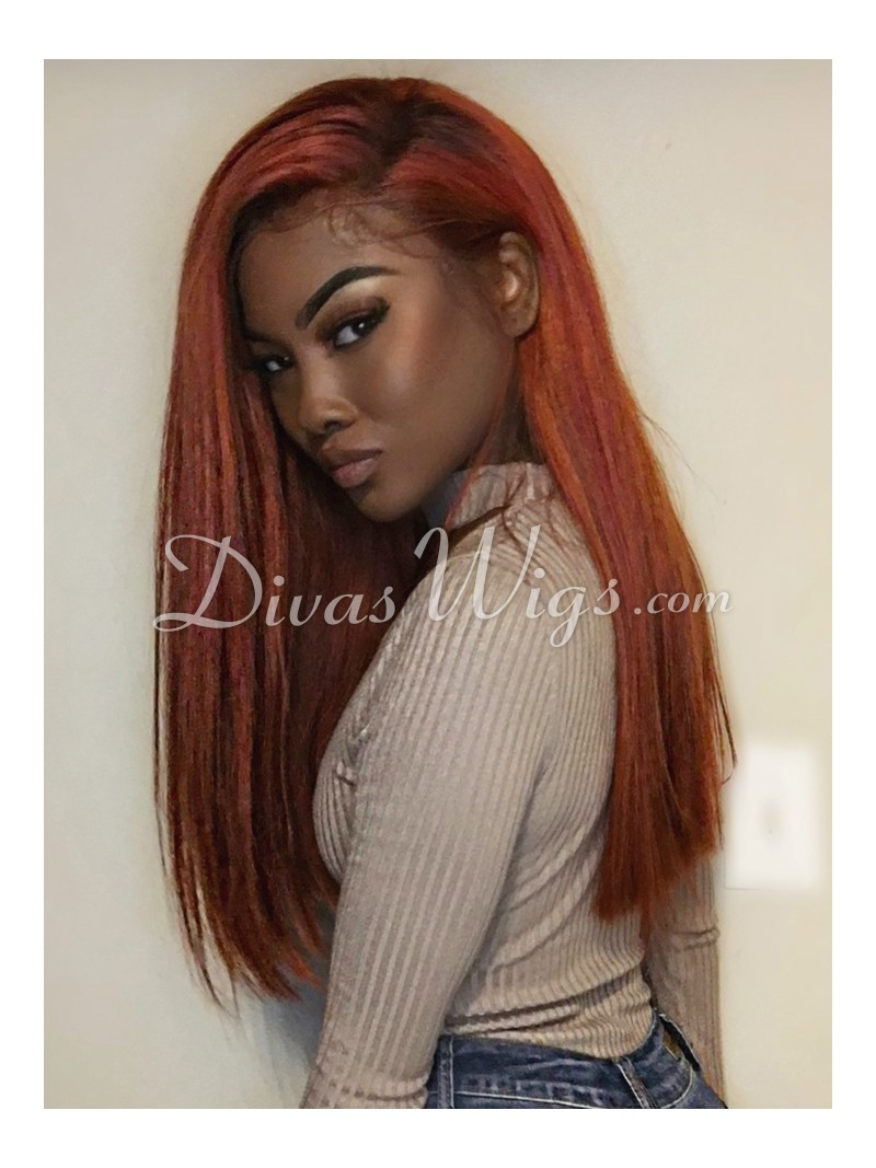 Beautyrebellion Orange Goddess Human Hair Lace Wig