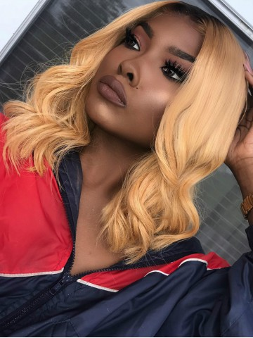 Beautyrebellion Blond Wavy Full Lace Human Hair Lob Wig - NEWIN068