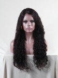 "24"" Jet Black (#1) Jessica White Curly Full Lace Wig - cec001"