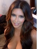 "22"" Darkest Brown(#2) Medium Reddish Brown (#4) Kim Kardashian Wavy Full Lace Wig - cew007"
