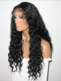 "26"" Off Black (#1B) Custom Curly Full Lace Human Hair Wig-bhc279"