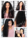 "24"" Jet Black (#1) Custom Curly Full Lace Human Hair Wig-bhc279"
