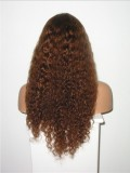 "24"" Chestnut Brown (#6)  Custom Curly Full Lace Human Hair Wig-bhc297"