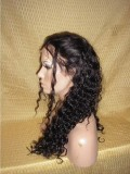 "24"" Off Black (#1B) Custom Curly Full Lace Human Hair Wig-bhc298"