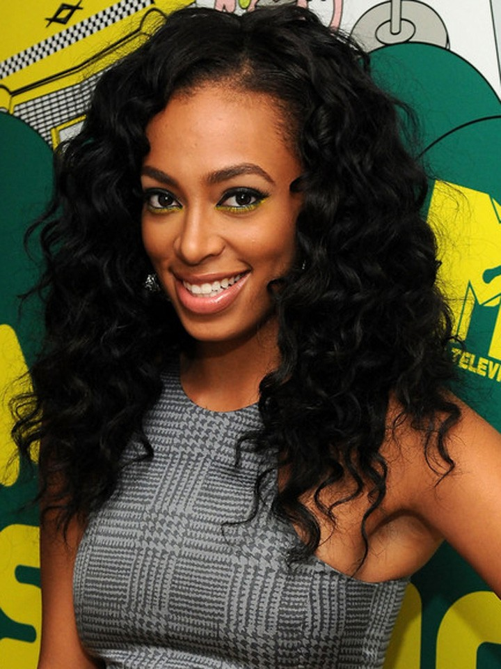 Solange Inspired Wavy Human Hair Full Lace Wig-wst032